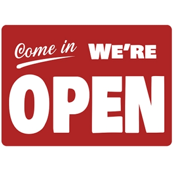 18H x 24W - We're Open