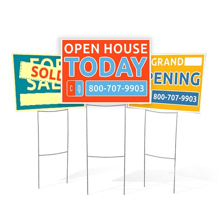 Coroplast (White Corrugated Plastic) H-Frame Lawn Signs