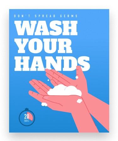 "Wash Your Hands - covid-19 Health & Hygiene Decals 8"" x 10"""